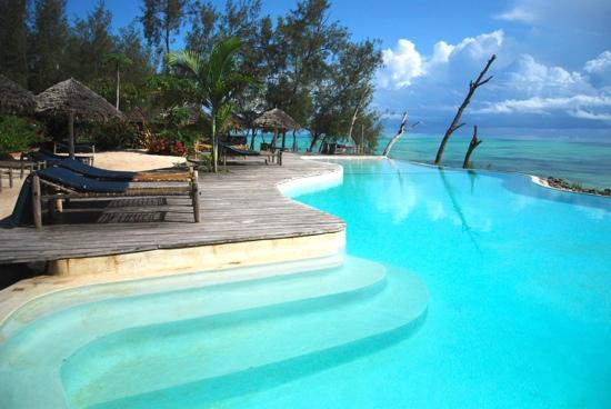 A sea view from a Pool at Pongwe Beach Hotel